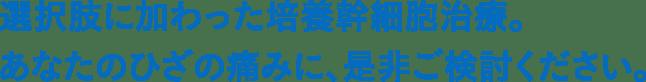 札幌ひざ関節症クリニック 向井原健太からの患者さまへのメッセージ1